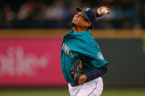 """When asked last night by a Mariners reporter if he was ready for today's game, Felix looked him dead int he eye and simply said, """"hell yeah"""". Sounds good to me. (Photo by Otto Greule Jr/Getty Images)"""